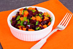 Salad of Cooked Beets and Carrots with Green Leek Royalty Free Stock Photography