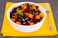Salad of Cooked Beets and Carrots with Green Leek Stock Images