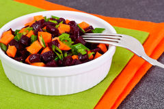 Salad of Cooked Beets and Carrots with Green Leek Stock Photos