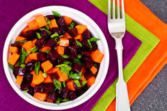 Salad of Cooked Beets and Carrots with Green Leek Royalty Free Stock Photo