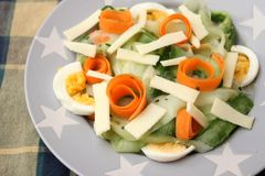 Salad with cooked eggs stock photo