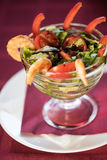 Salad with cooked shrimp Royalty Free Stock Image