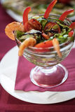 Salad with cooked shrimp Royalty Free Stock Images