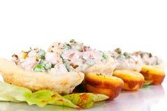 Salad and corn bread Royalty Free Stock Photo