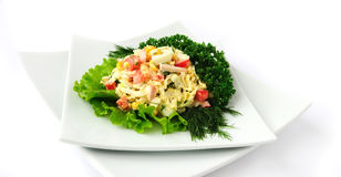 A salad of corn and Chinese cabbage Stock Photo