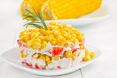 Salad with corn and crab sticks. Stock Photography