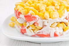 Salad with corn and crab sticks. Stock Photo