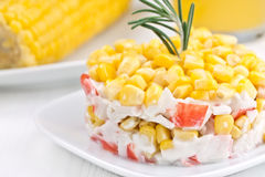 Salad with corn and crab sticks. Royalty Free Stock Photography