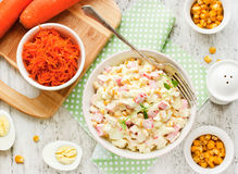 Salad with corn and crab sticks Royalty Free Stock Photos