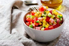 Salad with corn ,ham and tomato Royalty Free Stock Image