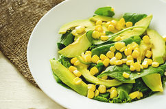 Salad with corn, spinach and avocado Royalty Free Stock Image