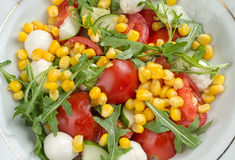 Salad with corn, tomato and mozzarella Royalty Free Stock Photos