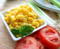 Salad of corn. A salad of yellow corn seeds Royalty Free Stock Photography