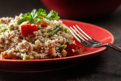 Salad couscous with tuna, bell pepper, cucumber, red onion and green beans Stock Image