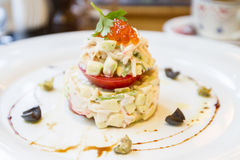 Salad with crab and avocado Stock Photo