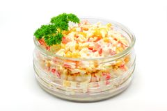 Salad with crab sticks, corn, eggs and rice royalty free stock photos
