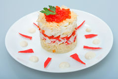Salad of crabs with red caviar Royalty Free Stock Photography