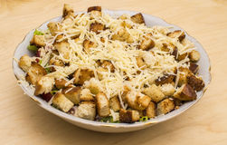 Salad with croutons, chicken, cheese and greens Royalty Free Stock Photography