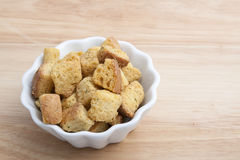 Salad Croutons in a White Bowl Stock Photos