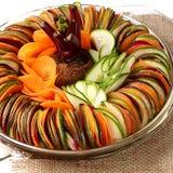 Salad  cucumber Beetroot Carrot sliced burlap Royalty Free Stock Photos