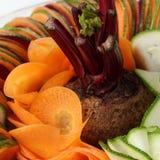 Salad  cucumber Beetroot Carrot sliced Stock Photos