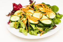 Salad of Cucumber and Carrots on Field Greens Royalty Free Stock Images