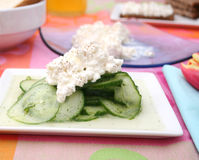 Salad of cucumber with cheese Royalty Free Stock Photos