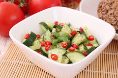 Salad of cucumber with chili Royalty Free Stock Images