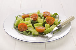 Salad with cucumber cubes and tomato Royalty Free Stock Photo