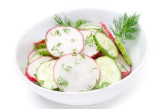 Salad of cucumber, radish and dill isolated on a white. Salad of cucumber, radish and dill on a white background Royalty Free Stock Photography