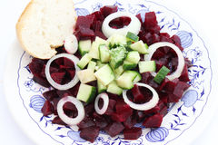 A salad of cucumber and red beet Royalty Free Stock Photography