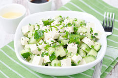Salad with cucumber, tofu, chives and sesame seeds, horizontal Royalty Free Stock Image