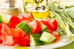 Salad of cucumber and tomato Royalty Free Stock Images