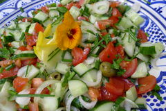 Salad with cucumber and tomato. Salad with lettuce and fresh vegetable close up Royalty Free Stock Image