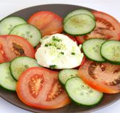 Salad of cucumber and tomatoes Stock Photo