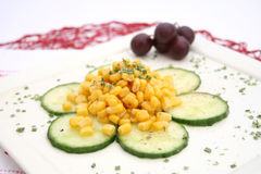 Salad of cucumbers and corn Royalty Free Stock Photography
