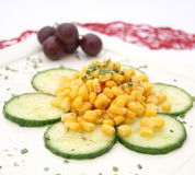 Salad of cucumbers and corn Royalty Free Stock Photos