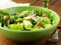 Salad with cucumbers and  green olive Royalty Free Stock Image