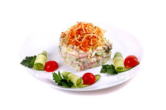 Salad of cucumbers, ham and eggs. Isolated over white background Stock Photography