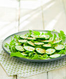 Salad from cucumbers with a linen seed Stock Photo