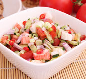 Salad of cucumbers with surimi Royalty Free Stock Photos