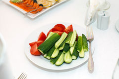 Salad of cucumbers and tomatoes. stock images