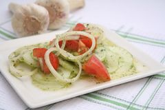 Salad of cucumbers and tomatoes Royalty Free Stock Image