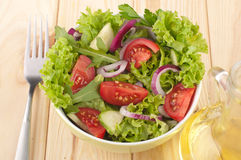 Salad with cucumbers tomatoes and onions Royalty Free Stock Photo