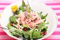 Salad of dandelion and beans. A fresh salad of dandelion and beans royalty free stock photography