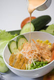 Salad of the day. Salad with cream fall in down Royalty Free Stock Photos