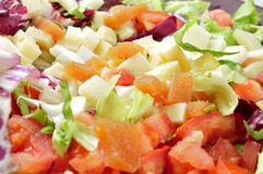 Salad with diced cheese and quince jelly Royalty Free Stock Photography