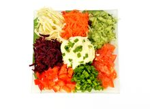 Salad of different kinds vegetables with sour cream Stock Images