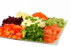 Salad of different kinds vegetables with sour cream Stock Photos