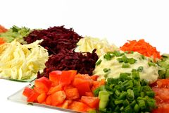 Salad of different kinds vegetables with sour cream Royalty Free Stock Images